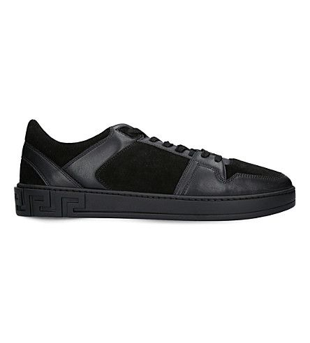 VERSACE Greco Leather And Suede Sneakers. #versace #shoes #sneakers