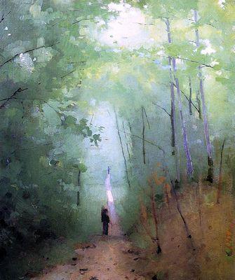 "Abbott Handerson Thayer (1849- 1921) ""Landscape at Fontainebleau Forest"""