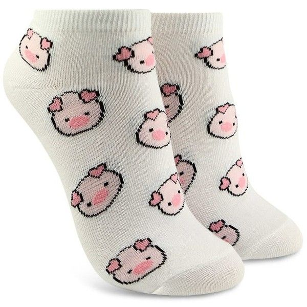 Forever21 Piggy Print Ankle Socks ($1.90) ❤ liked on Polyvore featuring intimates, hosiery, socks, patterned hosiery, tennis socks, forever 21 socks, short socks and ankle socks
