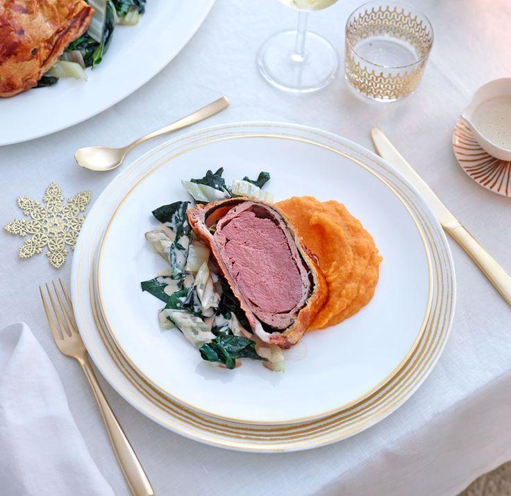 Rinderfilet in Blätterteig als Hauptgang für ein weihnachtliches Festmahl