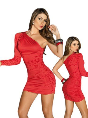 #Sexy #Red One #Shoulder Long #Sleeve #Mini #Dress $36.99 http://www.mysharedpage.com/sexy-red-one-shoulder-long-sleeve-mini-dress-extra-large