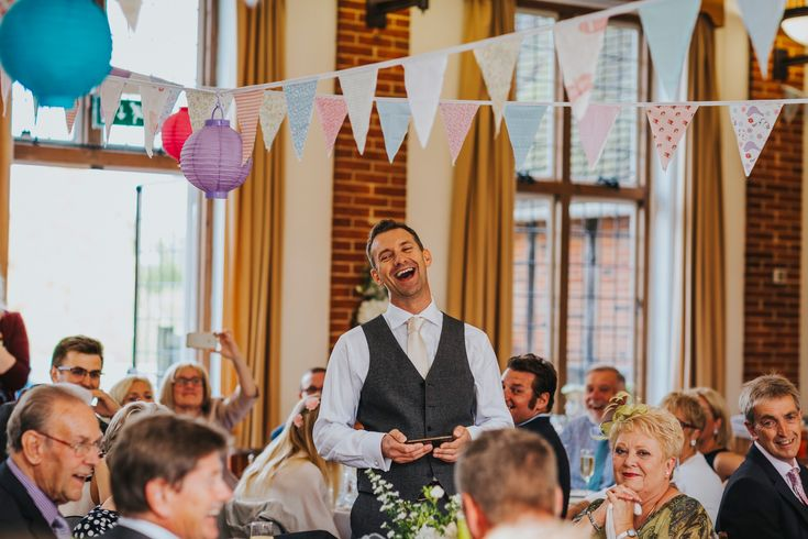 Making everyone laugh (including yourself!) should be the goal of every speech. Photo by Benjamin Stuart Photography #weddingphotography #speeches #vintagewedding #groupphoto #weddingday #weddingideas