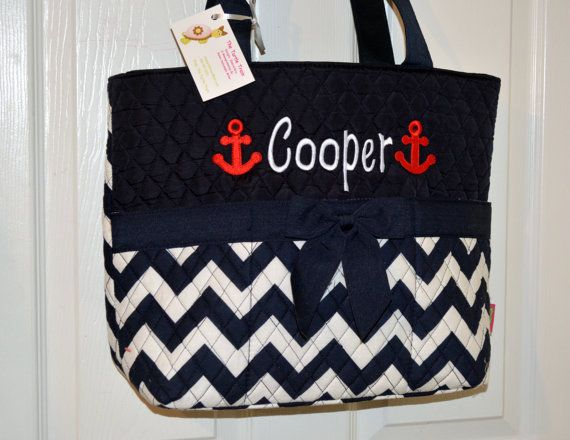 Nautical With Anchor Navy Chevron Quilted Diaper Bag Tote