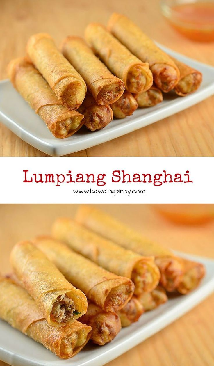 Lumpiang shanghai are Filipino-style springrolls filled with ground meat, carrots, green onions, water chestnuts and garlic. Golden and crisp, these are seriously addicting!