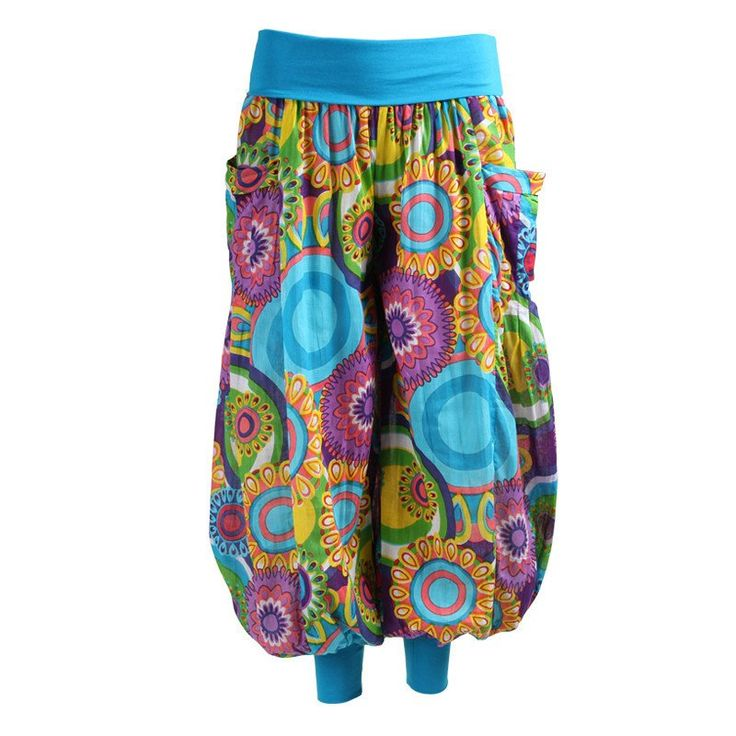 Bright Print Balloon Pants with Jersey Cuffs