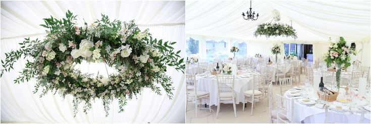 flower circle suspended from marquee roof, suffolk wedding photography