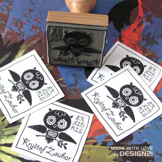Owl: personalised rubber stamp 4x4 cm by lida21 on Etsy