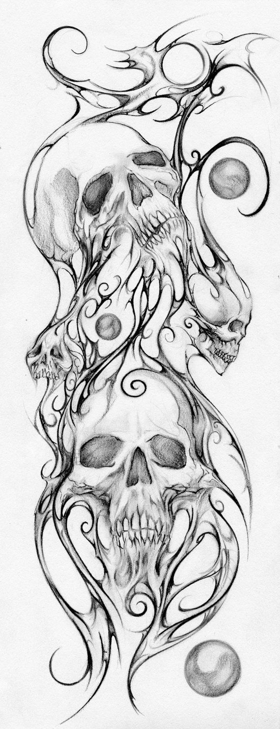 Skull Line Drawing Tattoo : Skulls print mixed media drawing by teresa
