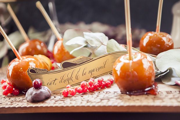Love these little guys, delicious toffee apples from an inspirational shoot featured on one fab day  #deserttables