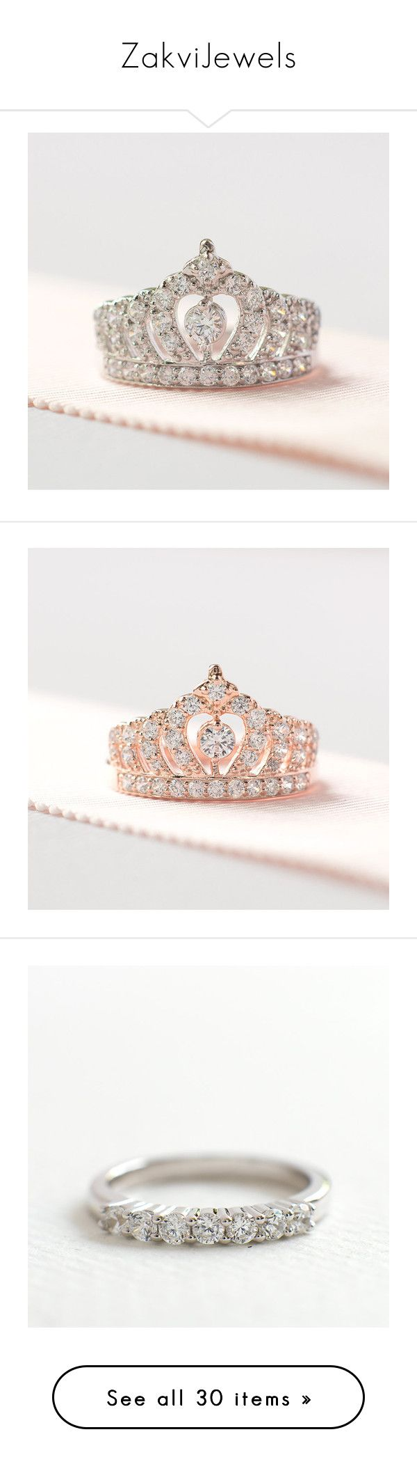 """""""ZakviJewels"""" by zakvijewels on Polyvore featuring jewelry, rings, engagement rings, crown ring, crown jewelry, crown engagement rings, sterling silver crown ring, sterling silver jewelry and rose gold jewellery"""