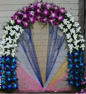 Fresh artificial flowers decoration ganpati decoration for Artificial flower decoration for ganpati