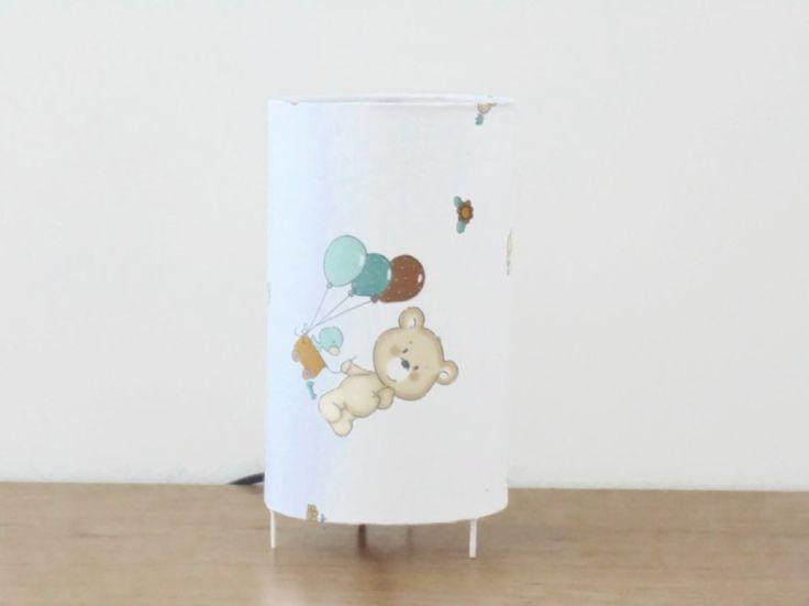 lampe tube blanche motifs oursons nounours ballons lampe chevet d'appoint idée naissance