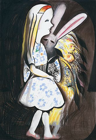 Charles Blackman ~ The Tunnel (Alice in Wonderland), c.1980