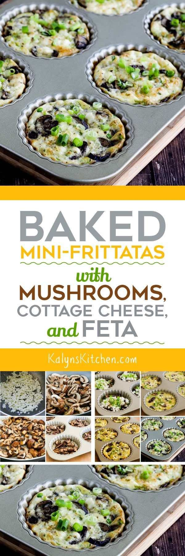 Baked Mini-Frittatas with Mushrooms, Cottage Cheese, and Feta found on KalynsKitchen.com