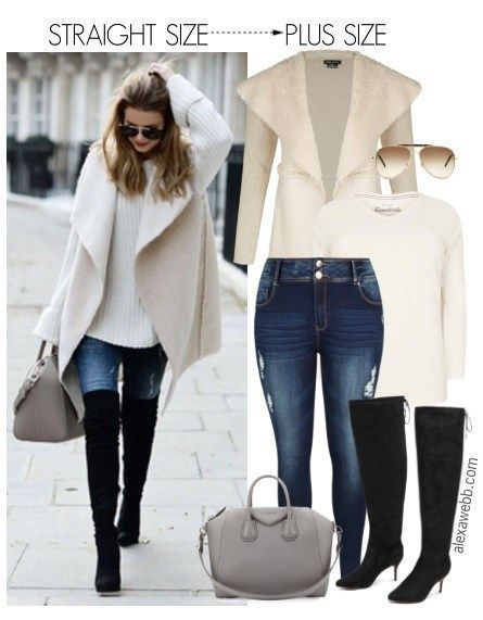 Straight Size to Plus Size Shearling Cardigan Outfit - Plus Size Fashion for Women - alexawebb.com