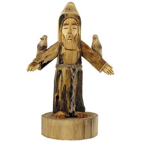 Folk Art Wood Carvings by Hector Rascon - Hand-carved wooden figures by one of New Mexico's best-known folk artists. Choose from San Pasqual, St. Francis and angels. Hector Rascon specializes in carving saints (santos) and angels from cottonwood and aspen trees. He uses a chainsaw, eight very sharp chisels, and a band saw. His creations feature incredibly sensitive, soulful faces, and they reflect his spirit in their eyes. (Some folks say Hector's santos looks like Hector!)