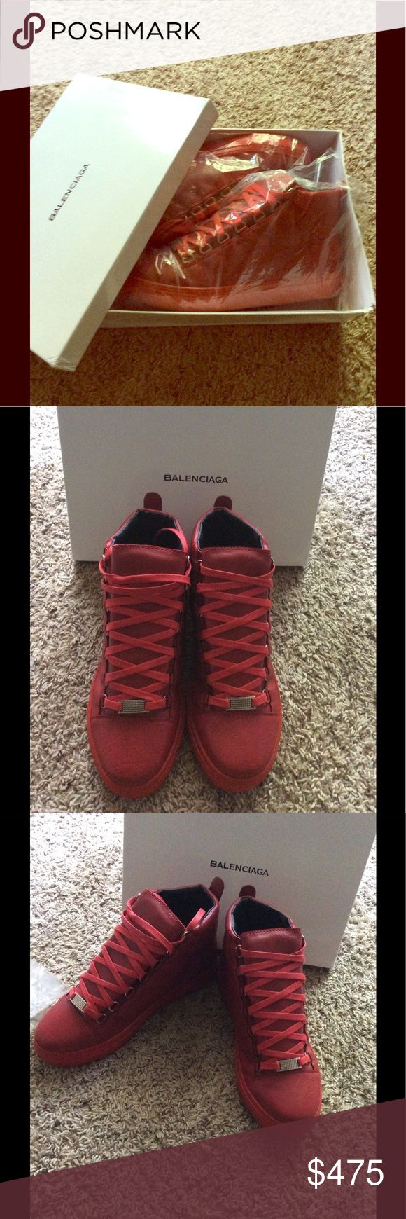 Balenciaga Arena High Top Size U.S.8/UK7/EUR41 Men's customs Solid RED DeadStock Item Never used  Box Included Balenciaga Shoes Sneakers