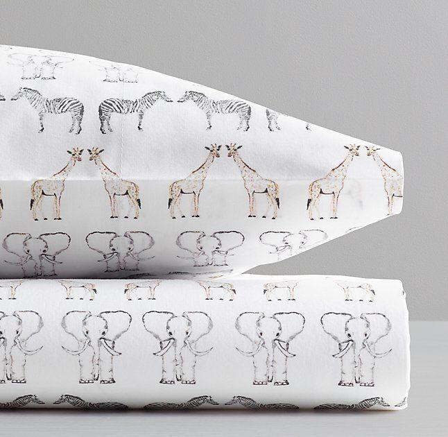 Watercolor Safari Animal Print Toddler Pillowcase