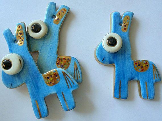 Blue Donkey Ceramic Ornament by eudoxiahandmade on Etsy