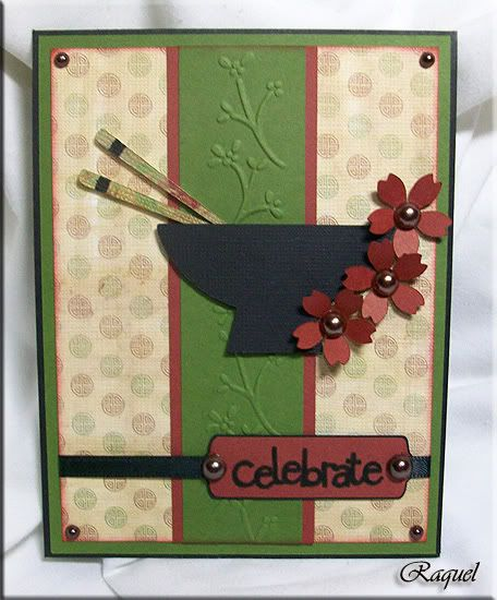 handmade card from My Creations ... Asian theme ... ricebowl, chopsticks and cherry blossoms ... like it!