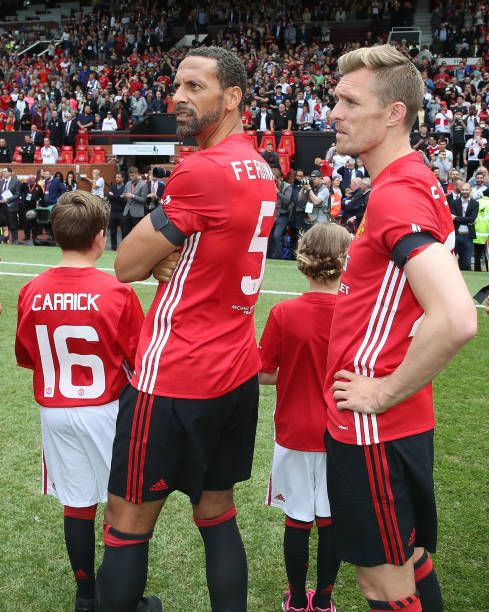 Rio Ferdinand and Darren Fletcher of Manchester United pose ahead of the Michael Carrick Testimonial match between Manchester United and Michael...