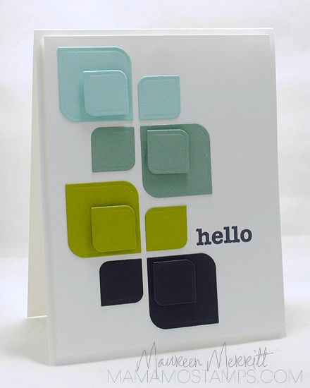 handcrafted greeting card from Mama Mo Stamps ... clean lines ... bold graphic look ... sophisticated color combo ... rounded corner squares ... like this card!