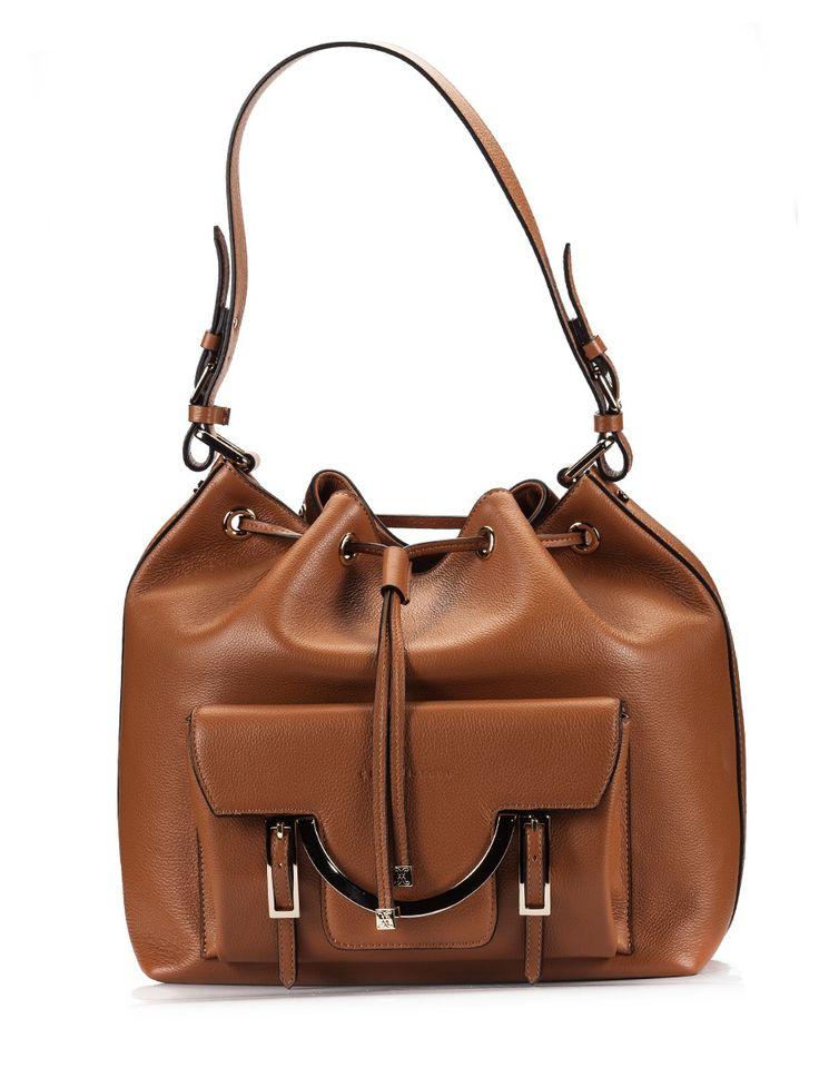 Coccinelle CELESTE camel martellato leather shoulder bag