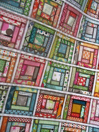 Gelati Log Cabin : Gelati Logs, Quilts Inspiration, Red Peppers Quilts, Quilts Blocks, Log Cabins, Logs Cabins Patchwork, Quilts Ideas, Logs Cabins Quilts, Stained Glasses