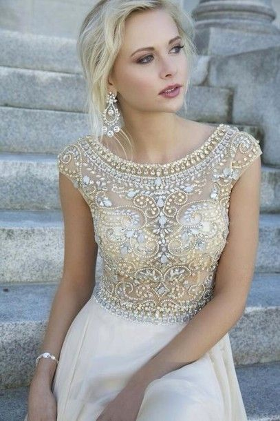 Dress: white and gold dress, jewels, bling, sequins, embellished, white, diamonds, strass, paillettes, see through, cream, prom dress, jacket, golden, beads, long prom dress, gold, prom, formal, classy, long prom dress, maxi dress, prom dress, jovani 88174, jovani, white dress, beige beaded bodice prom dress, rhinestones, beige prom dresses, promdresses, nude, long, sparkly, homecoming dress, jovani, cream color, creme, prom dresses /graduation dress .party dress, prom gown, jewlery, ...