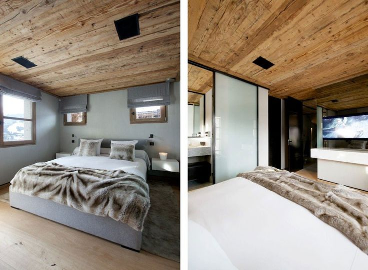 Luxury Contemporary Chalet in French Alps: Marvelous Bedroom At Chalet Cynella With Woold Blanket On White Bedspread Also With Mounted Wall TV And Storage ~ SFXit Design Architecture Inspiration