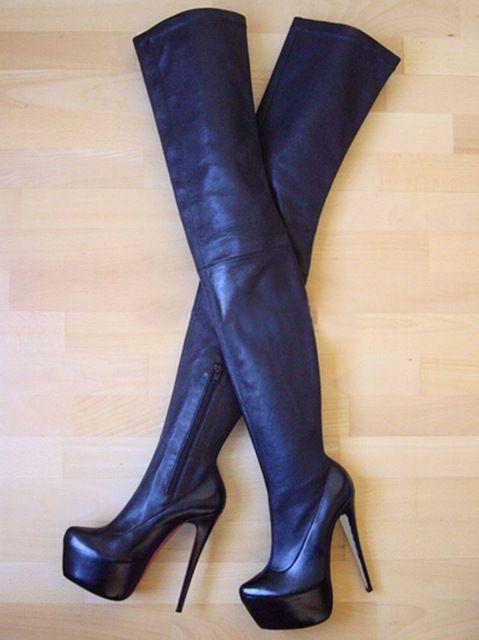 2015 new fashion 16 cm tacco tacco alto sopra il ginocchio stivali di alta qualità in pelle nera piattaforma donna stivali scarpe