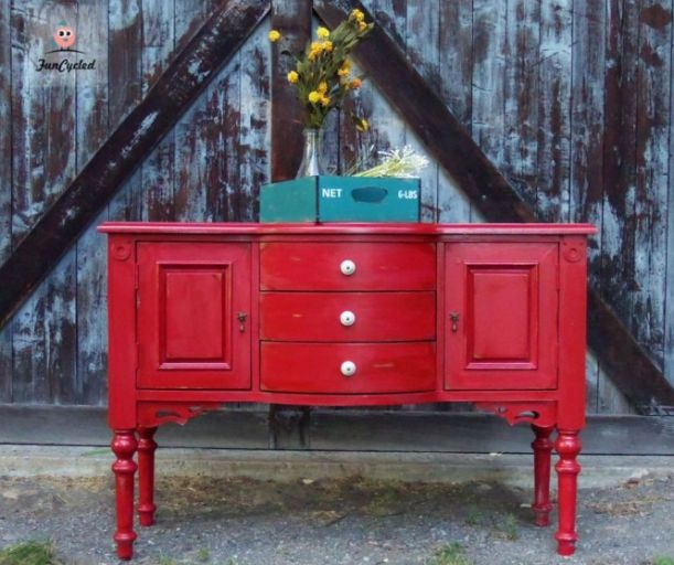Painted buffet table
