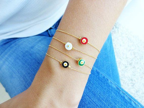 Evil eye bracelet - red black white green turkish istanbul arabic style jewelry best friend birthday teenagers girls matching via Etsy