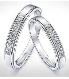 Buy Cara Silver and Swarovski Stone Couple Bands engagement-gift online