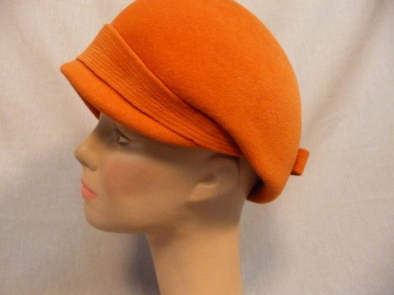 Vintage 1960s OTTO LUCAS Tall Orange Felt by fancymeetingyouhere, $48.00