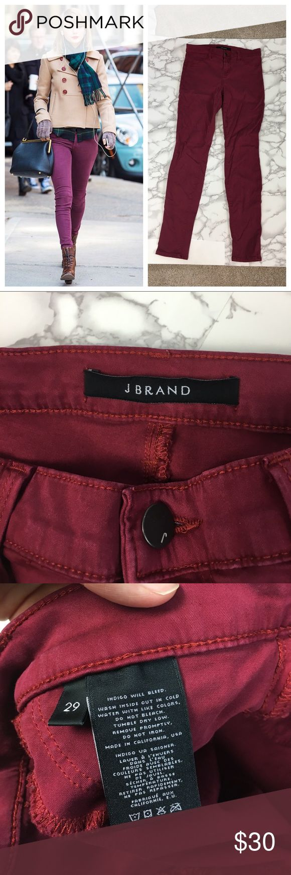 Cute J Brand Red Gaya Super Skinny Jeans - 29 Super cute for Fall! Similar style worn on Taylor Swift. J Brand, size 29. Gently used with some light wear throughout and could use an ironing. 2jun17cdand J Brand Jeans Skinny