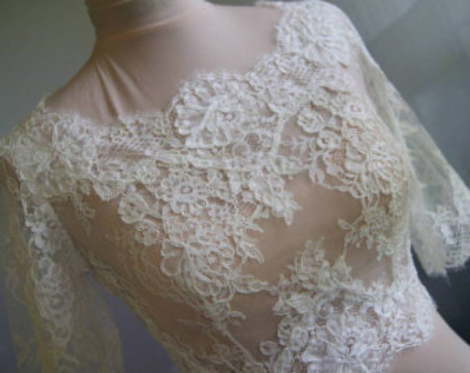 Bruiloft bolero, jasje van kant, alencon, mouwen. Unieke, exclusieve romantisch bruids bolero JOANNA