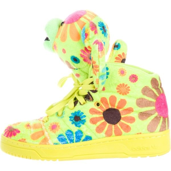 Pre-owned Jeremy Scott x Adidas Flower Power High-Top Sneakers ($125) ❤ liked on Polyvore featuring shoes, sneakers, green, flower print sneakers, hi tops, adidas high tops, floral print sneakers and floral high top sneakers