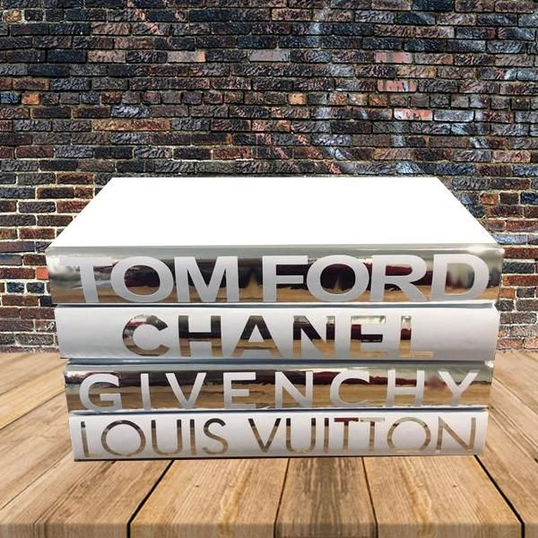 Fashion Designer Book Labels Set Of 4 Chrome 5 Chanel Book Decor Glamour Decor Coffee Table Books Decor