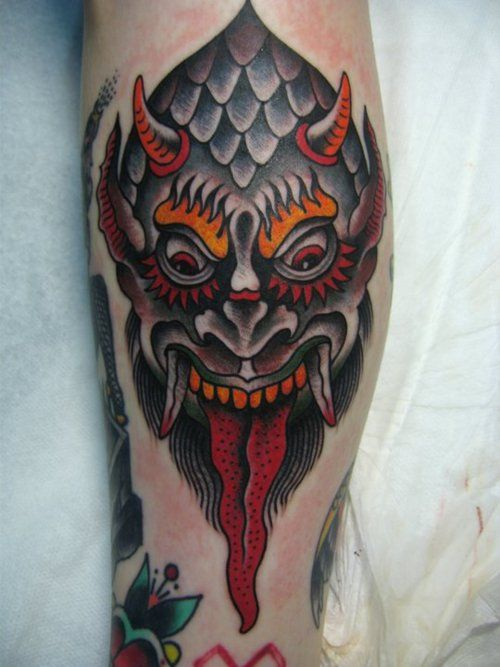 the gallery for gt traditional devil face tattoo