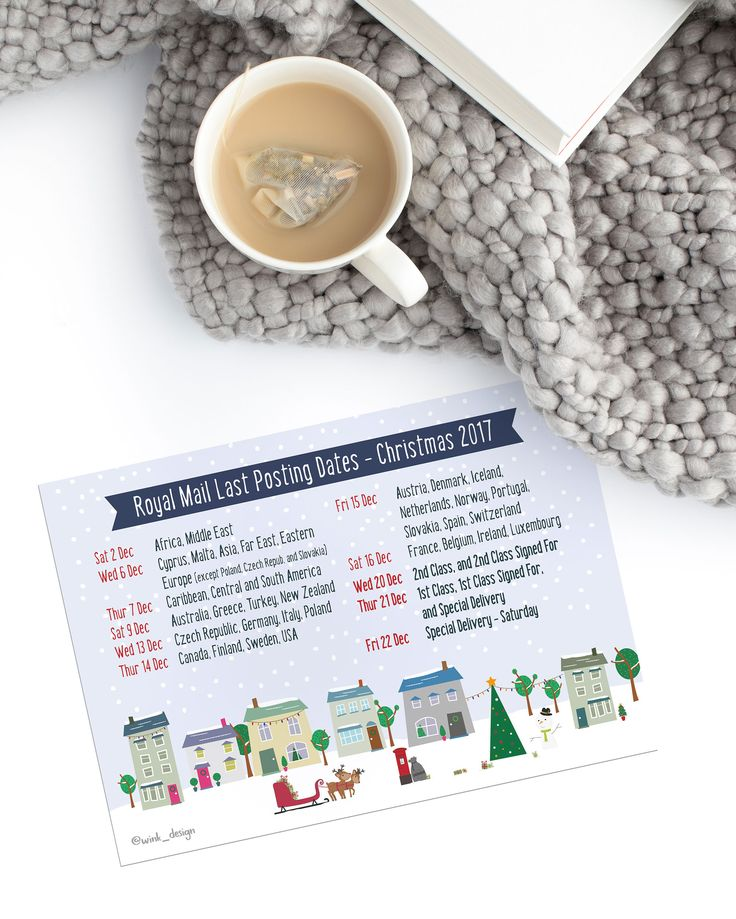 Listen up, small business friends! Here's a FREE PRINTABLE Royal Mail Christmas Posting Date Poster! Perfect to keep an eye on those dates when you're shipping your international orders... and UK ones too!  Feel free to share :)  On the Wink Design blog now http://wink-design.co.uk/blog/free-printable-poster-royal-mail-xmas-posting-dates-2017/
