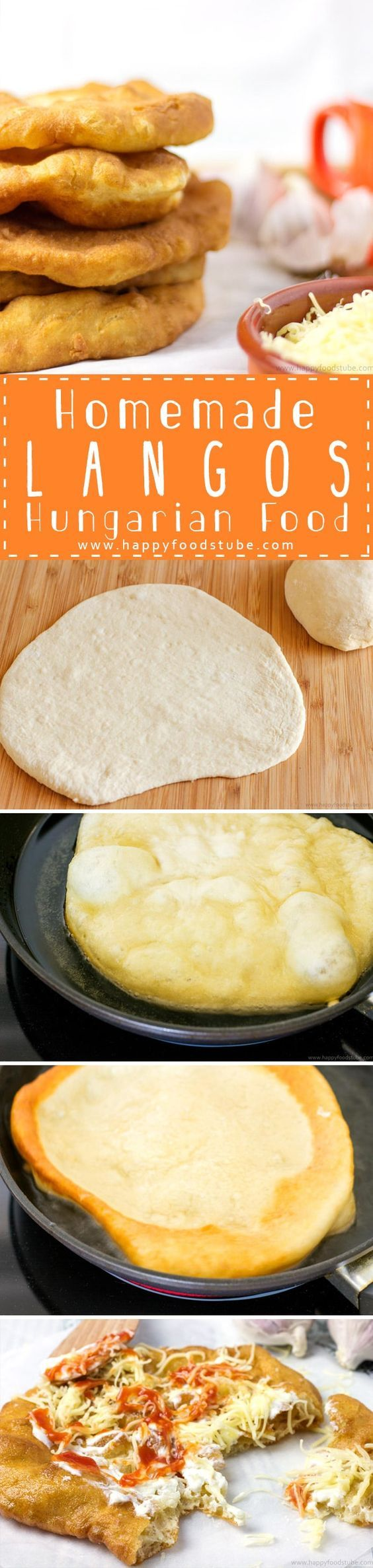 Langos (pronounce Langosh) is a Hungarian deep fried flat bread (made of yeast, flour & water). Only 5 ingredients via @happyfoodstube