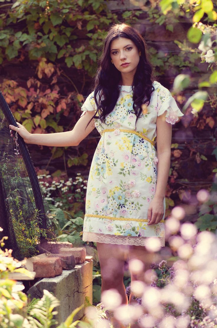 © Kate Bean Photography | Hair & makeup: Rosa O | 'Daisy Dream Dress' from Irish Designer Alice Halliday SS15 - ethereal fashion shoot - model: Emma Eliza Regan | babydoll floral lace trim printed mini dress 60s inspired