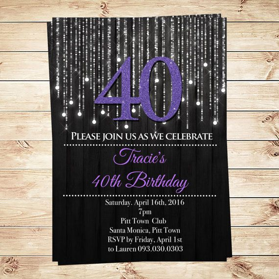 Purple Birthday Invitations Forty and Fabulous by DIY Party Invitation. This invitation adds a perfectly stylish touch to any birthday party! Is it possible to change color? Change fonts? Or resize it? Yes sure! We can personalized your favorite Fabulous birthday invitation, exactly as you want it! Custom orders available in less than 24 hours.  Rush orders 12 hours. Visit DIY Party Invitation on Etsy www.etsy.com/..