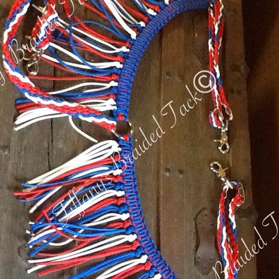 Fringe breast collar horse tack red white by TiffanysBraidedTack
