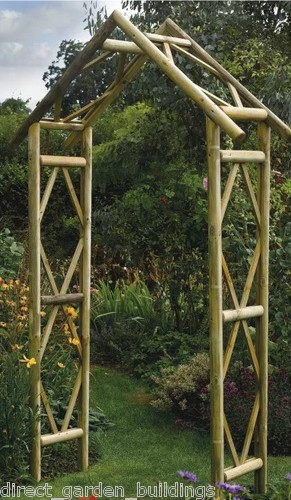 £80 270x125x 45cm  NEW RUSTIC GARDEN WOODEN ARCH WOOD ARCHWAY PRESSURE TREATED TIMBER TRELLIS | eBay