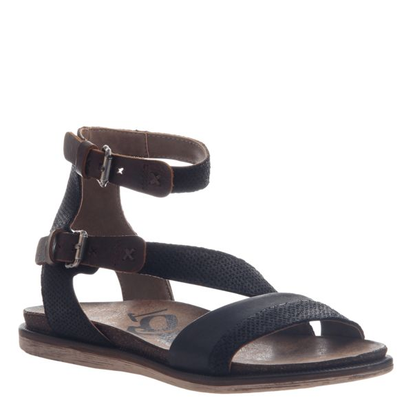 MARCH ON in BLACK Flat Sandals