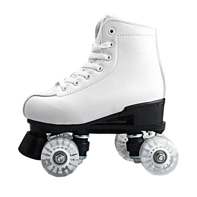 Basecamp Double Roller Skating Quad Two Line Roller Skate 4 Wheels Lace-up Skate Shoes with Colorful LED Light Free Shiping