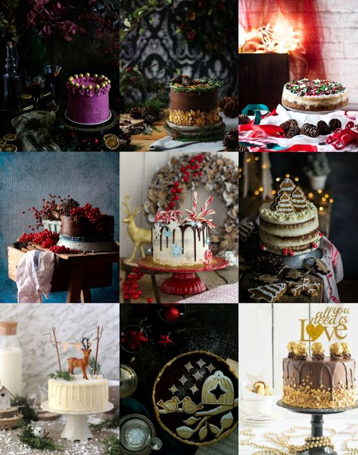 9 ideas maravillosas para tartas de Navidad. 9 fantastic ideas for Christmas cakes.
