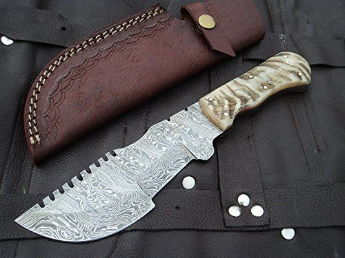 "Amazon.com : DKC-700 RUSTIC TRACKER Damascus Survival Hunting Knife Bone Horn Damascus Steel Blade 11oz 10"" Long 5"" Blade Long DKC Knives TM : Sports & Outdoors"